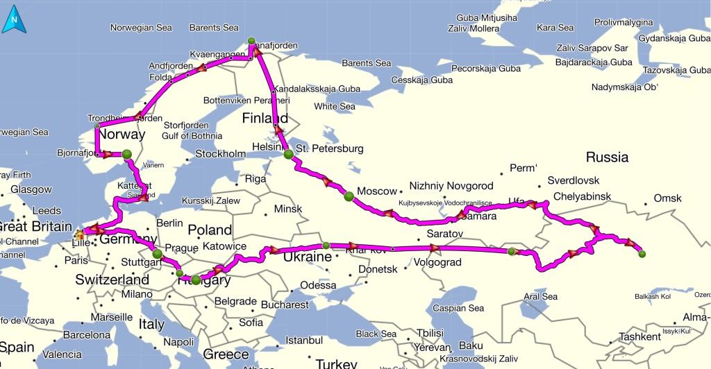 Overland route Nederland > Kazachstan > Moskou > Noordkaap > Oslo > Nederland