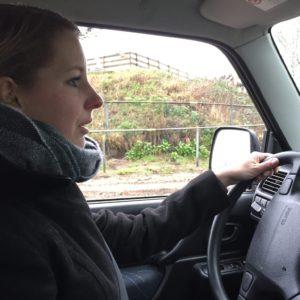 Lin achter het stuur