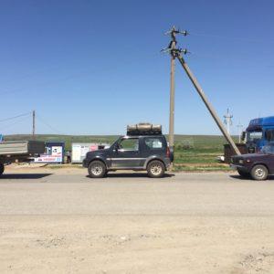 In de rij bij de grens Kazachstan - Rusland