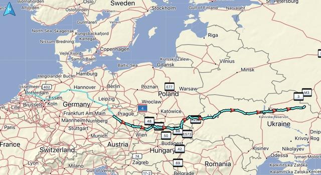 De gereden route, gereden afstand: 2031 KM. Totaal gereden vanaf thuis: 2958 KM