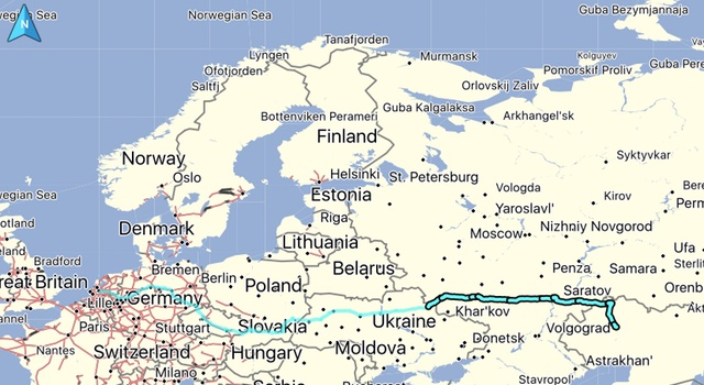 Our route, distance: 1614 KM. Total distance from home: 4572 KM
