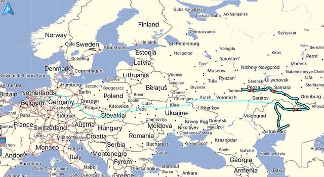 De gereden route, afstand: 3002 KM. Totaal gereden vanaf thuis: 7574 KM