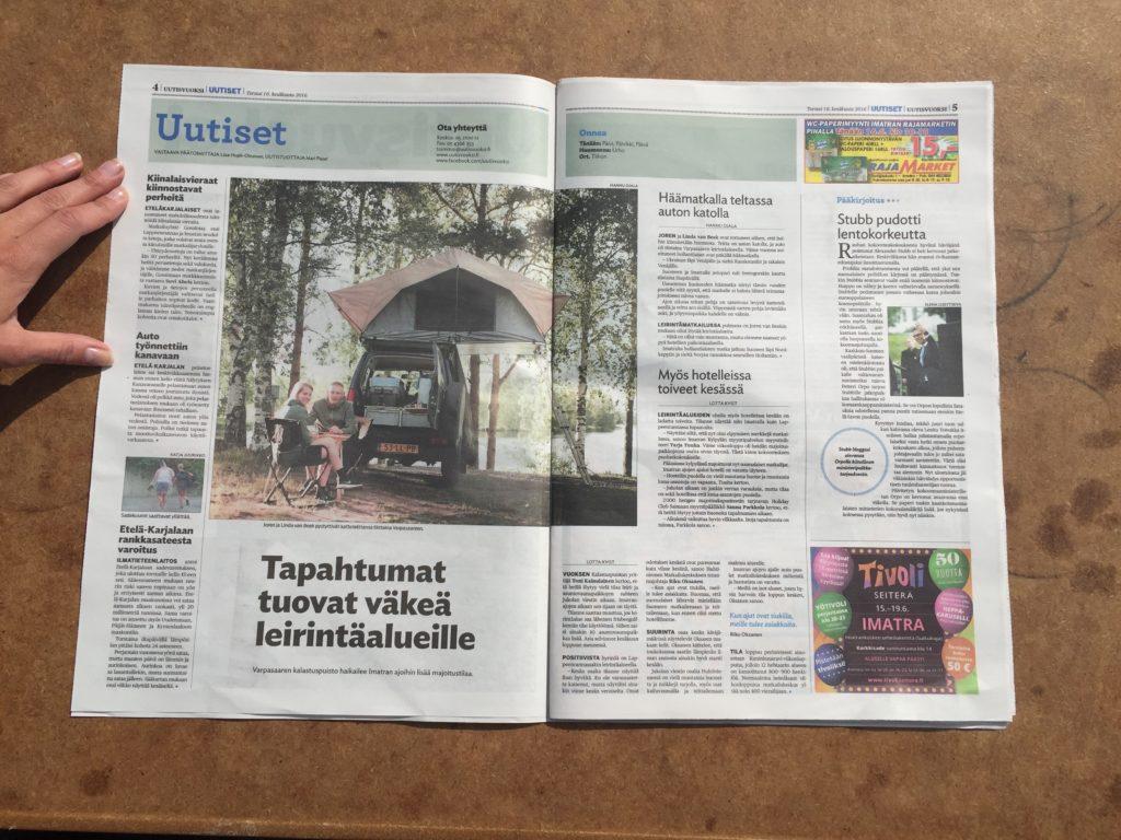 Artikel in de Uutisvuoksi - Krant Imatra Finland