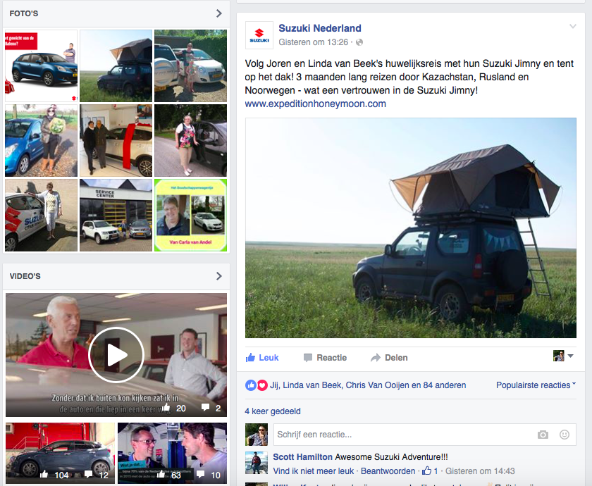 Expedition Honeymoon op de Facebook van Suzuki Nederland