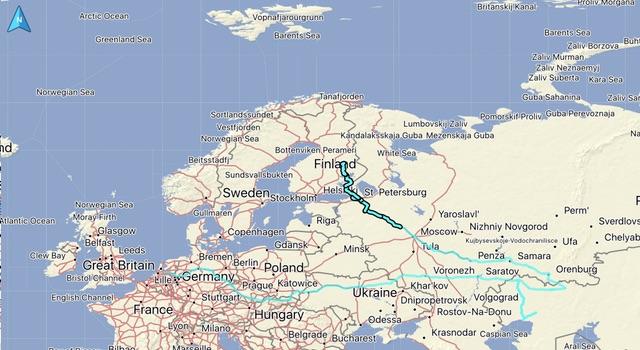 De gereden route, afstand: 1573 KM. Totaal gereden vanaf thuis: 10058 KM