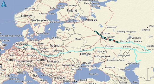 Our route, distance: 911 KM. Total distance from home: 8485 KM