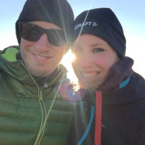 Noordkaap middernacht zon selfie