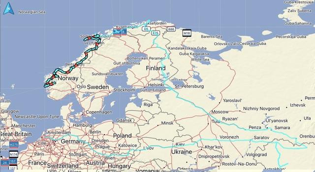 De gereden route, afstand: 2990 KM. Totaal gereden vanaf thuis: 15595 KM