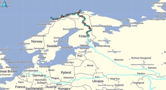De gereden route, afstand: 2547 KM. Totaal gereden vanaf thuis: 12605 KM