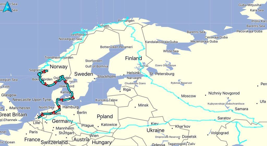 De gereden route, afstand: 3327 KM. Totaal gereden vanaf thuis: 18922 KM